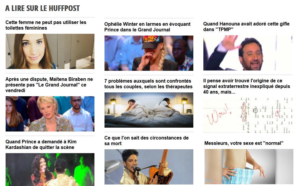 """le """"Huffpost"""", site d'information ou de """"buzz"""" ? captures d'écran réagencées du site."""